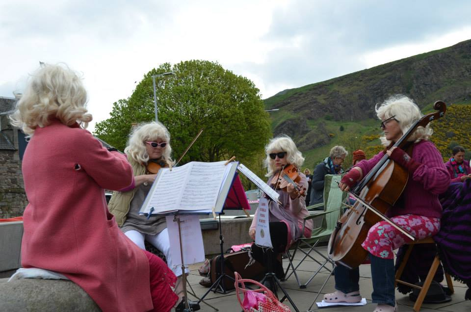 Quartet playing outside Holyrood Parliament