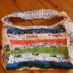 Knitted bag made out of plastic bags